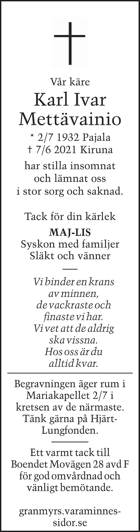 Ivar Mettävainio Death notice