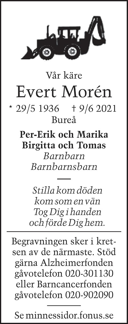 Evert Morén Death notice