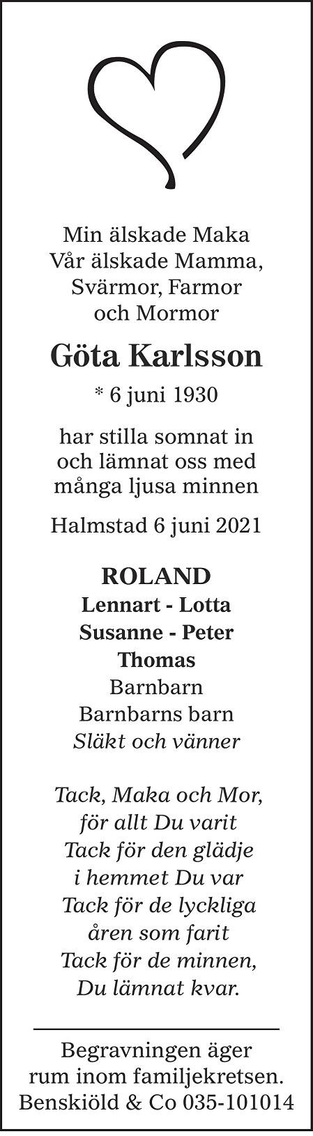 Göta Karlsson Death notice