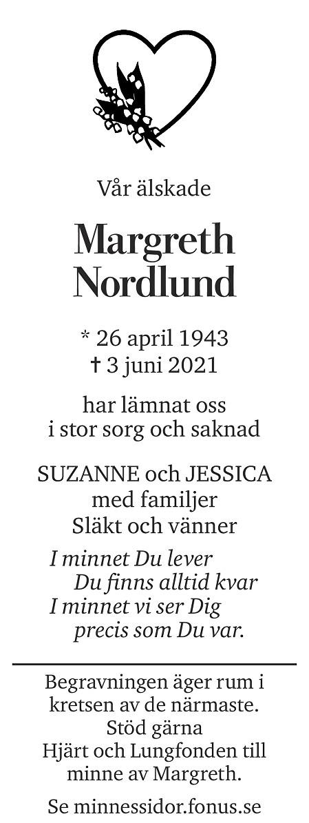 Margret Nordlund Death notice