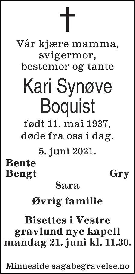 Kari Synøve Boquist Dødsannonse