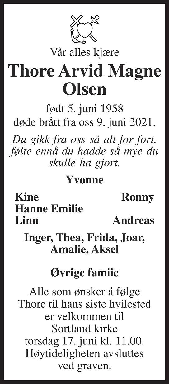 Thore Arvid Magne Olsen Dødsannonse