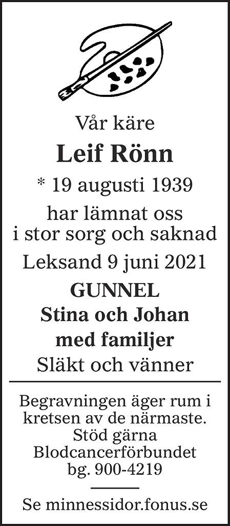 Leif Rönn Death notice