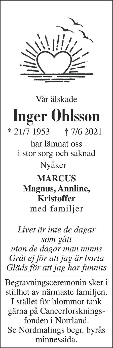 Inger Ohlsson Death notice