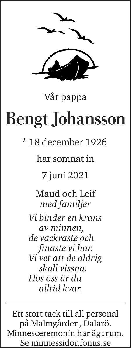 Bengt Johansson Death notice
