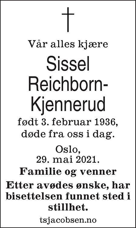 Sissel Reichborn-Kjennerud Dødsannonse