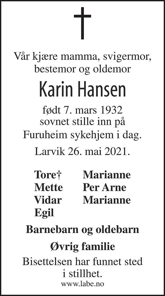 Karin Hansen Dødsannonse