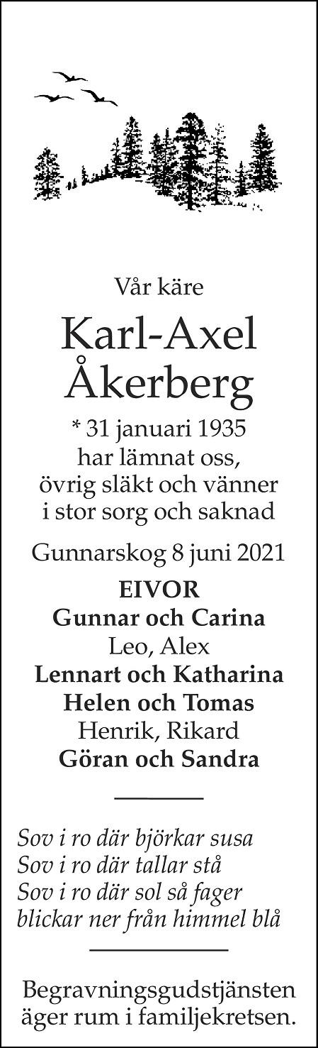 Karl-Axel Åkerberg Death notice