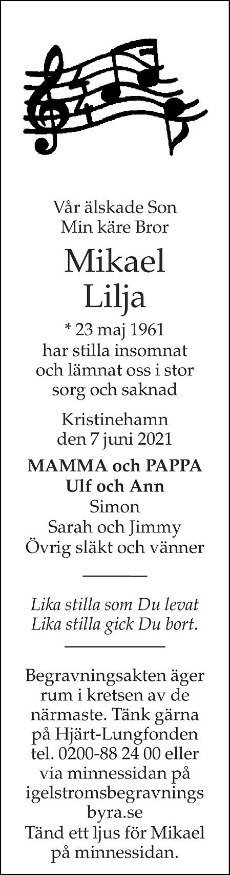 Mikael Lilja Death notice