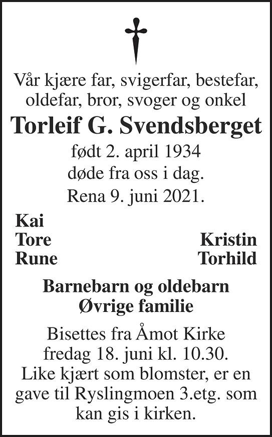 Torleif Svendsberget Dødsannonse