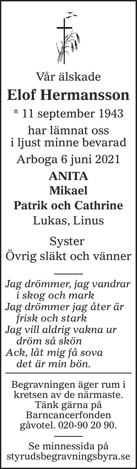 Elof Hermansson Death notice