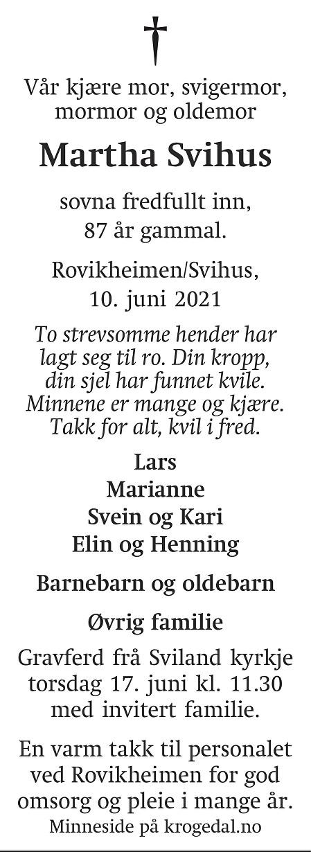 Martha Svihus Dødsannonse