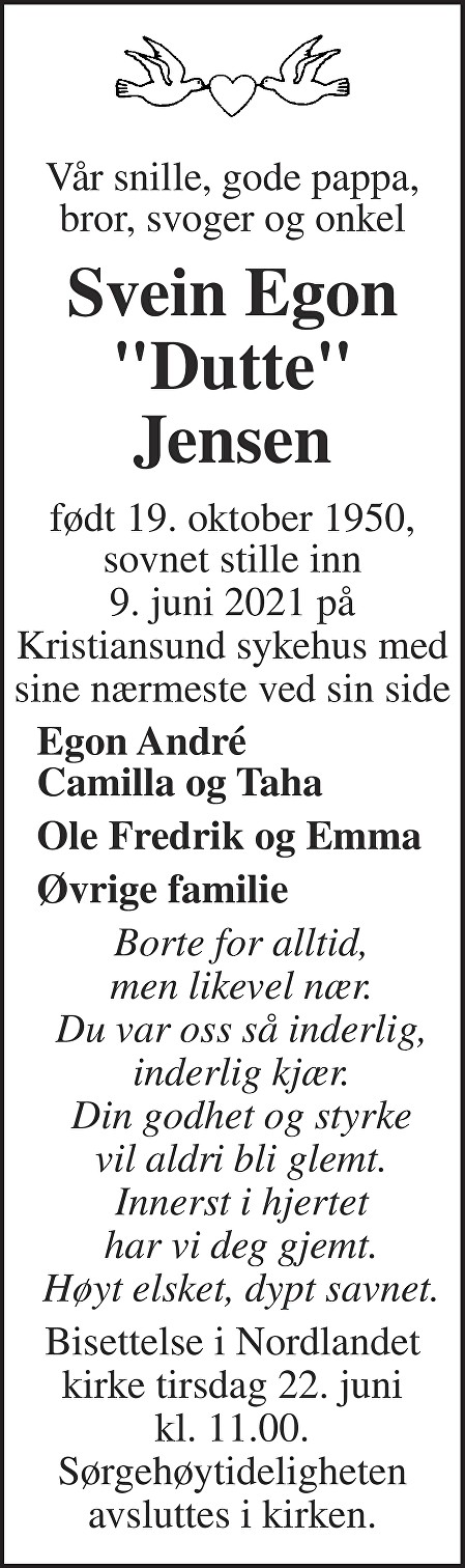 Svein Egon Jensen Dødsannonse