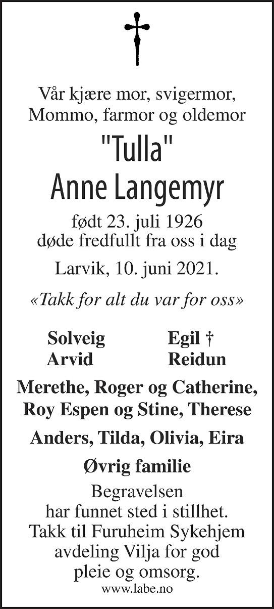 Anne Langemyr Dødsannonse