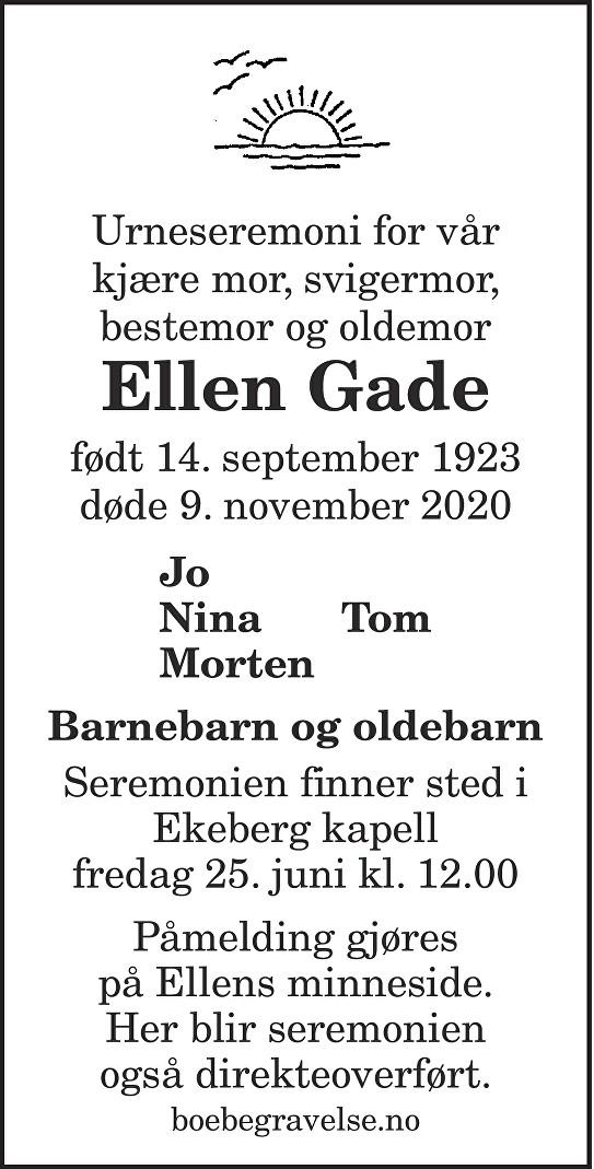 Ellen Gade Dødsannonse