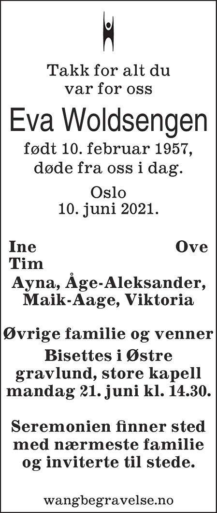 Eva Woldsengen Dødsannonse