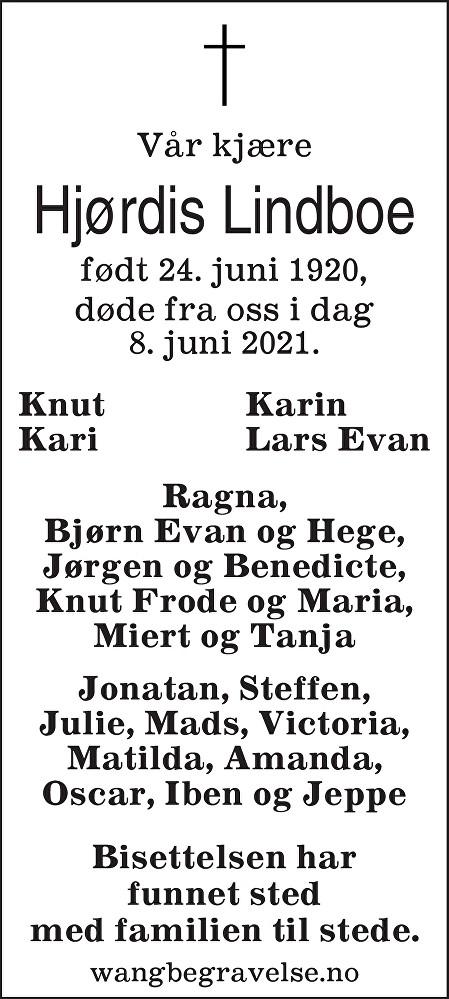 Hjørdis Mathilde Lindboe Dødsannonse