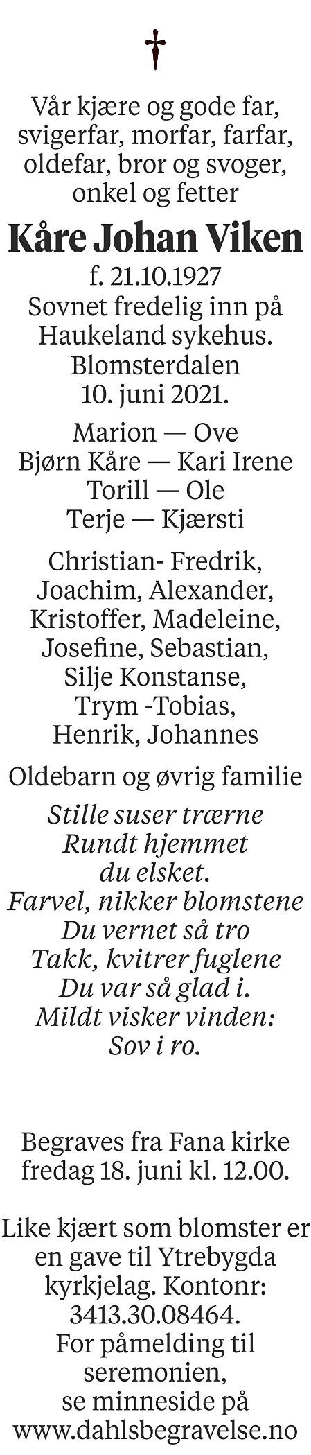 Kåre Johan Viken Dødsannonse