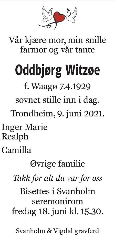 Oddbjørg Gunelie Witzøe Dødsannonse