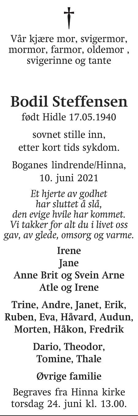 Bodil Steffensen Dødsannonse