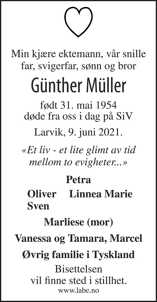 Günther Müller Dødsannonse