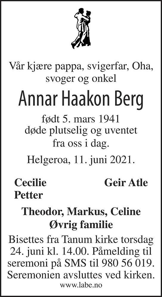 Annar Haakon Berg Dødsannonse