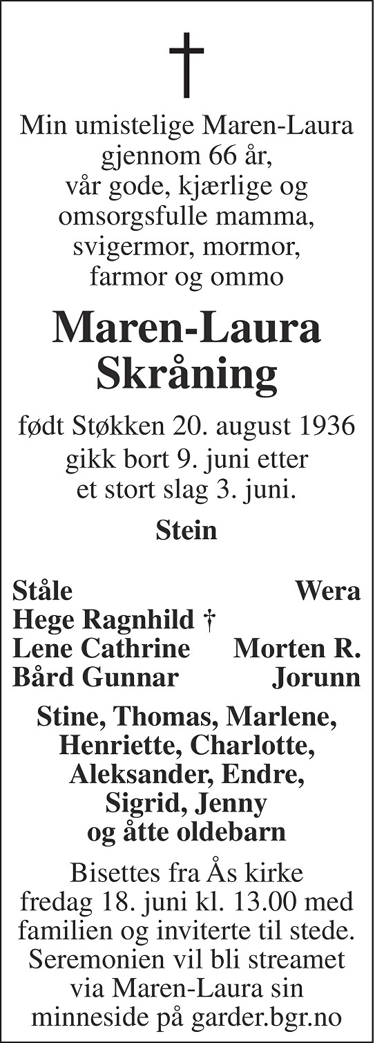 Maren-Laura Skråning Dødsannonse