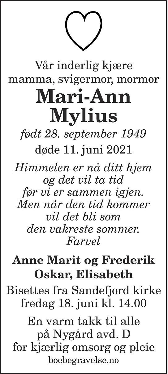 Mari-Ann Mylius Dødsannonse