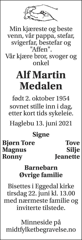 Alf Martin Medalen Dødsannonse
