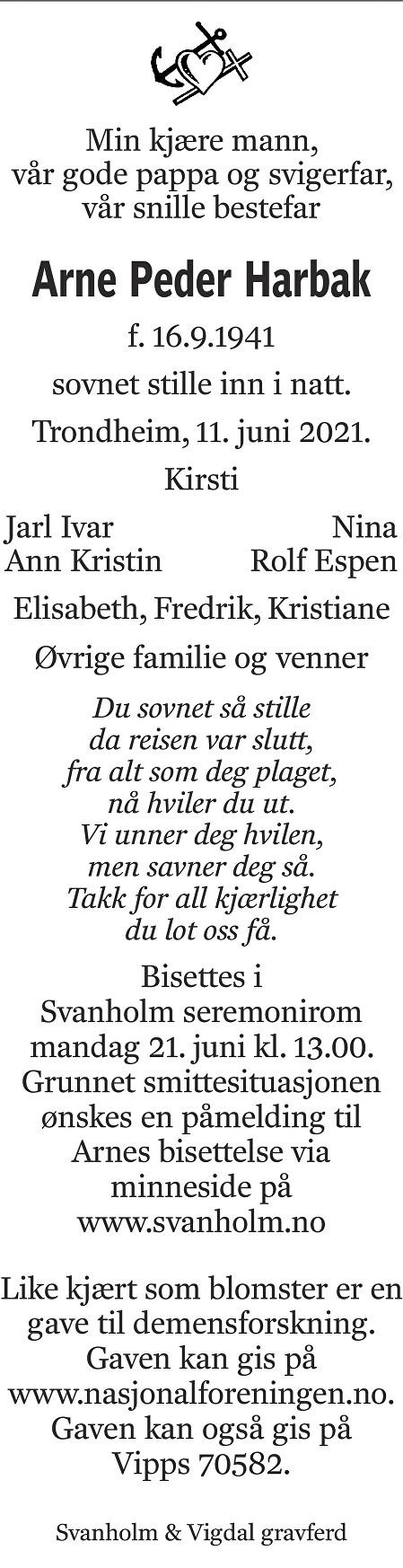 Arne Peder Harbak Dødsannonse