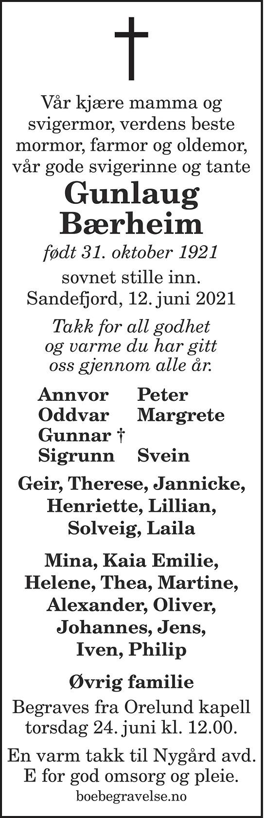 Gunlaug Bærheim Dødsannonse
