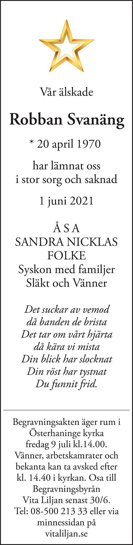 Robban Svanäng Death notice