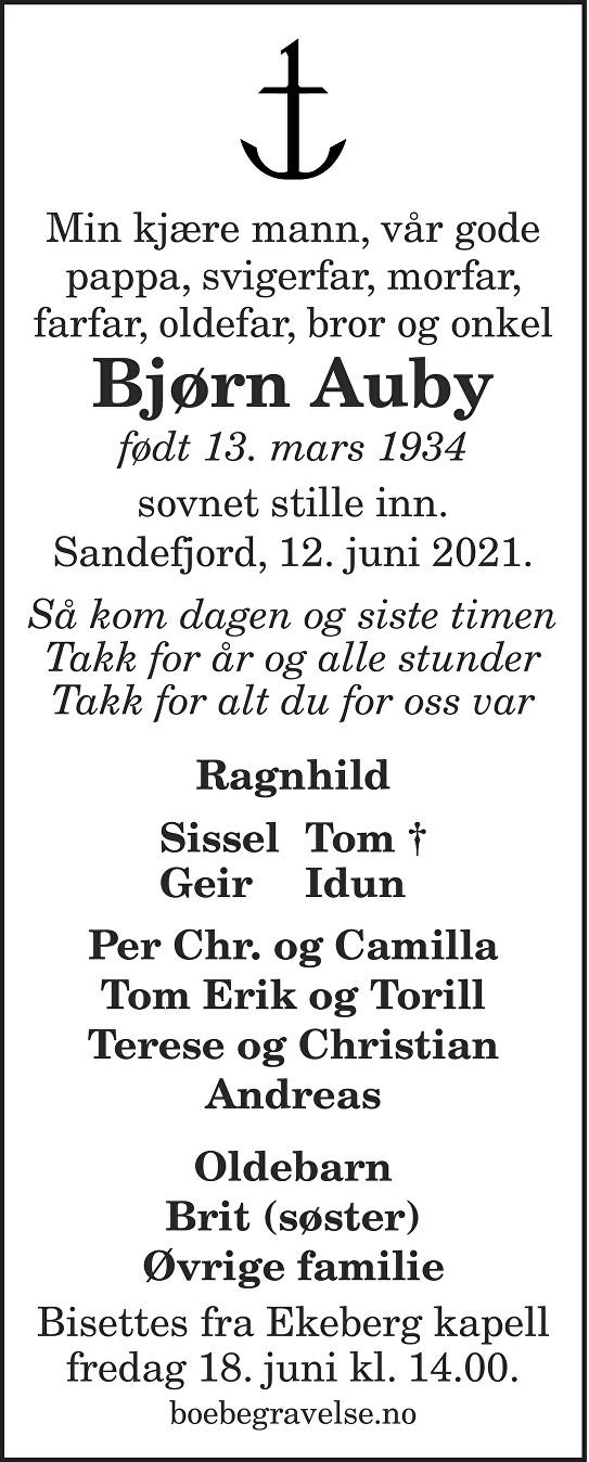 Bjørn Auby Dødsannonse