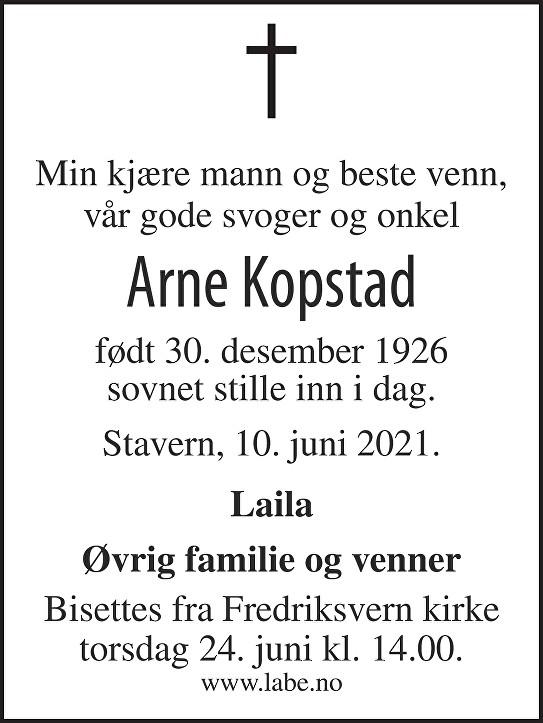 Arne Dagfinn Kopstad Dødsannonse
