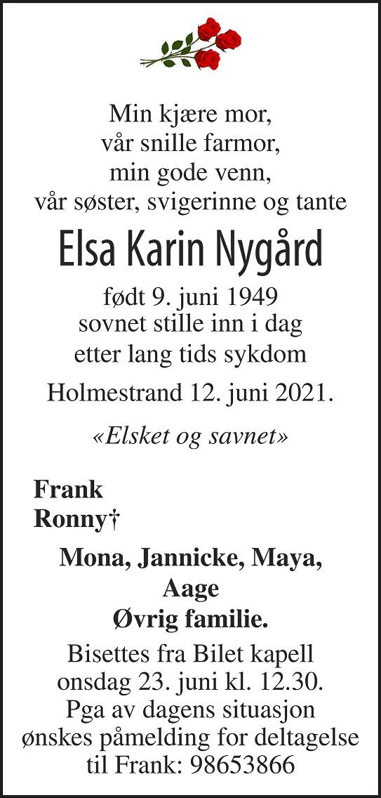 Elsa Karin Nygård Dødsannonse