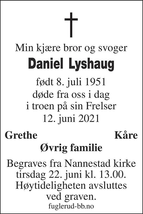 Daniel Lyshaug Dødsannonse