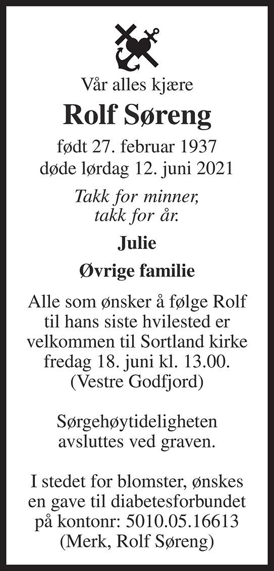 Rolf Jalmar Martin Søreng Dødsannonse