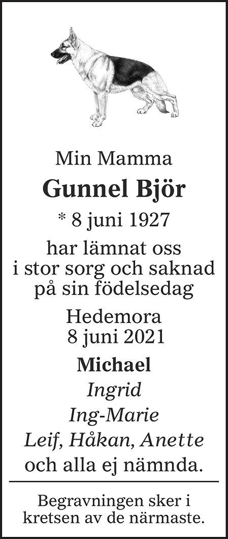Gunnel Björ Death notice