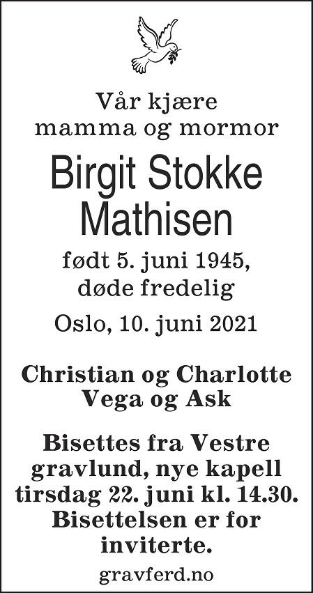 Birgit Stokke Mathisen Dødsannonse