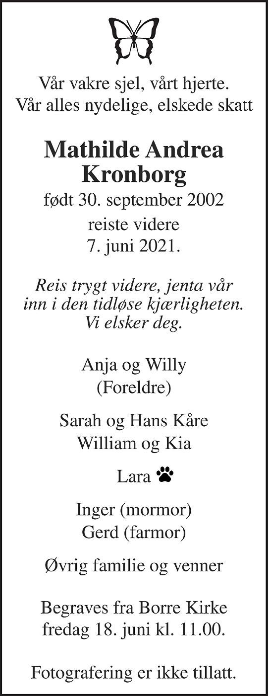Mathilde Andrea Kronborg Dødsannonse