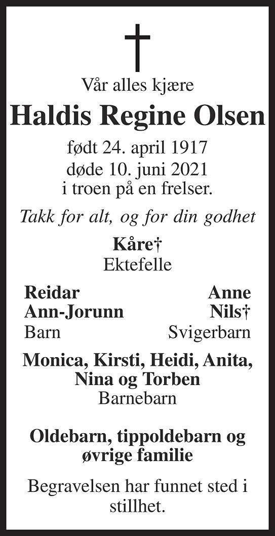 Haldis Regine Olsen Dødsannonse
