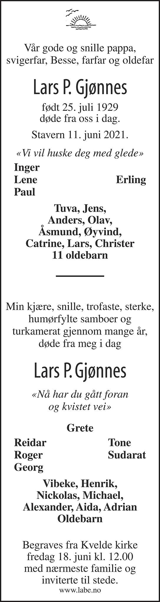 Lars Gjønnes Dødsannonse