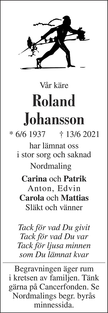 Roland Johansson Death notice