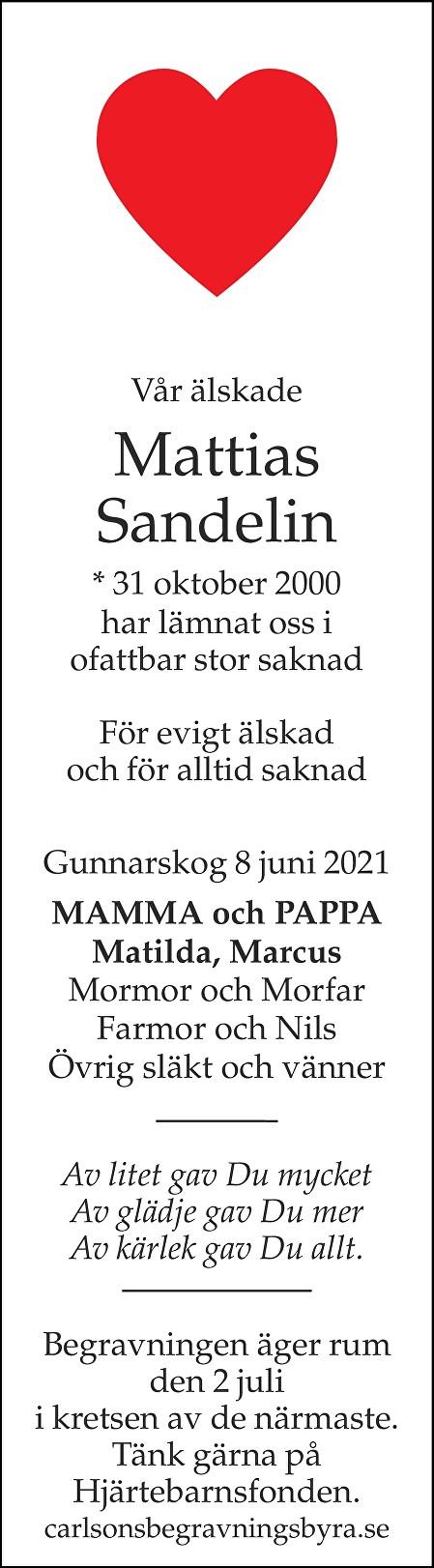 Mattias Sandelin Death notice