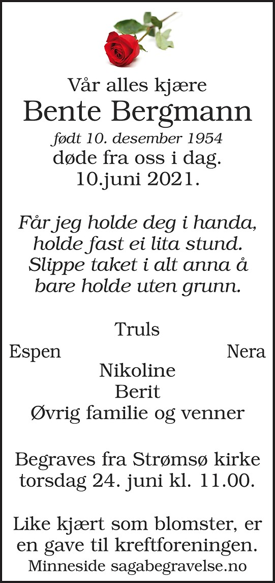 Bente Bergmann Dødsannonse