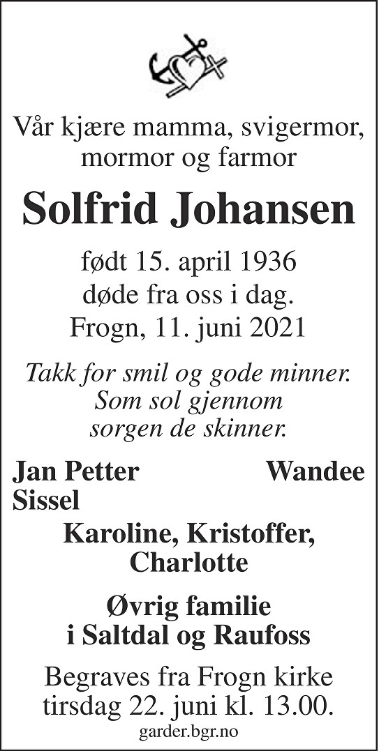 Solfrid Johansen Dødsannonse