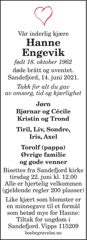 Hanne Engevik Dødsannonse