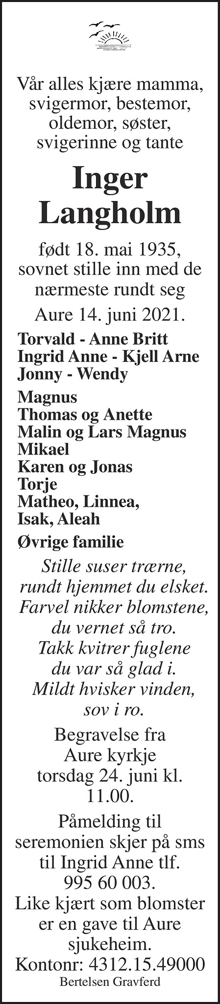 Inger Langholm Dødsannonse