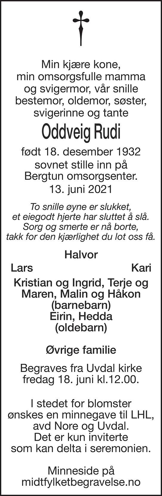 Oddveig Rudi Dødsannonse