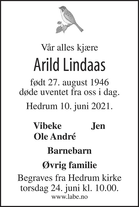 Arild Lindaas Dødsannonse
